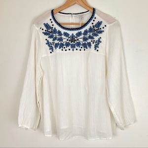 Lucky Brand White Blouse Blue Embroidered Plus 1X
